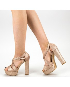 Sandale Dama cu Toc ''Ellvira'' - Champagne