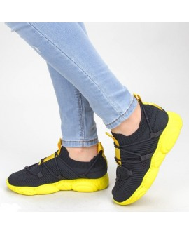 Pantofi Sport Dama ''Floramaria'' - Negru/Galben
