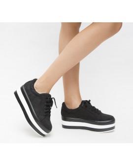 Pantofi Sport ''Chunny'' cu Talpa Inalta - Negri