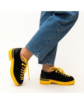 Pantofi Dama Casual, Palermo - Negru / Galben
