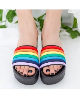 Papuci Dama cu Platforma, Curcubeu - Negrii