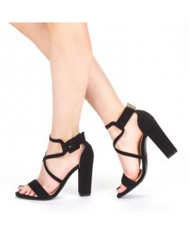 Sandale Dama cu Toc Gros , Fathia - Negre