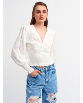 Bluza Dama Stil IE Dilvin, Alba din Dantela Brodata