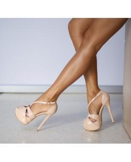 Sandale cu Toc Sandra - Nude
