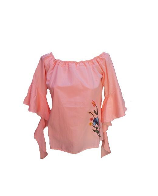 Bluză damă cu volănaşe - roz prăfuit