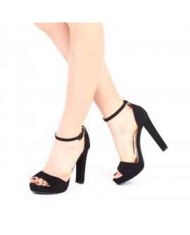 Sandale cu Toc Gros si Platforma, Betina - Negre